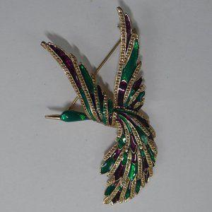 Vintage Bird Flying Figural Brooch Enamel Colorful